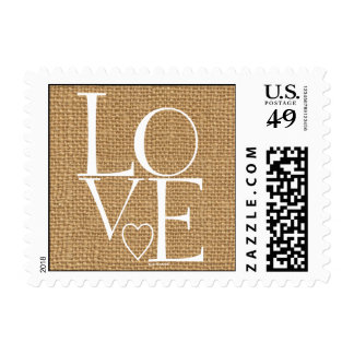 Burlap Love Postage Stamp