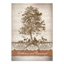 burlap love tree rustic country wedding invite 5