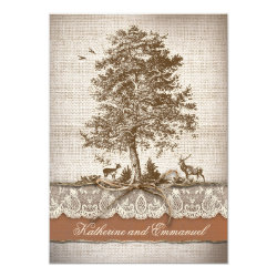 burlap love tree rustic country wedding invite 5