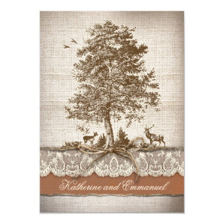 "burlap love tree rustic country wedding invite 5"" x 7"" invitation card"