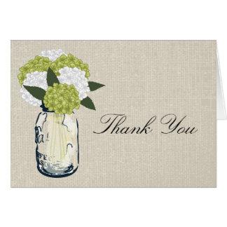 Burlap Mason Jar and Hydrangeas Card