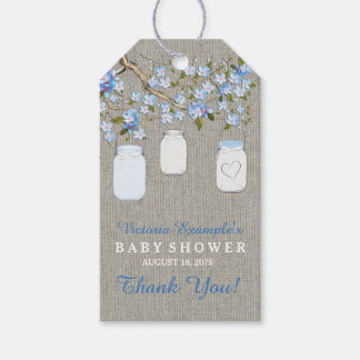 Burlap Mason Jar Baby Shower Gift Tags