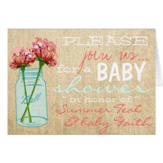 Burlap Mason Jar Turquoise Baby Shower Invitation Cards