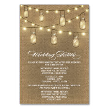 Burlap Mason Jar Wedding Reception + Hotel Cards