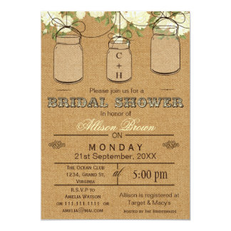 Burlap , mason jars, rustic bridal shower Invites