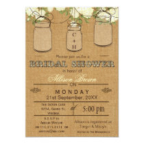 Burlap , mason jars, rustic bridal shower Invites