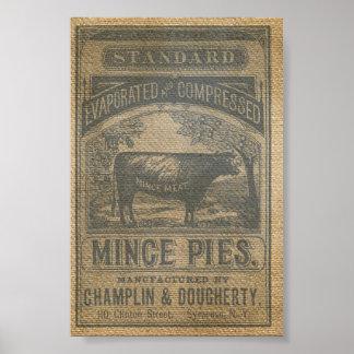 Burlap Mince Pies Vintage Advertisement Poster