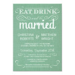Burlap Mint Green Rustic Wedding Invitations