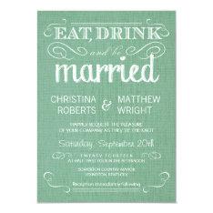 "Burlap Mint Green Rustic Wedding Invitations 4.5"" X 6.25"" Invitation Card at Zazzle"