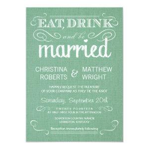 Burlap Mint Green Rustic Wedding Invitations 4.5