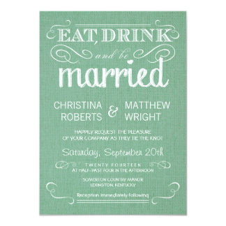 Burlap Mint Green Rustic Wedding Invitations