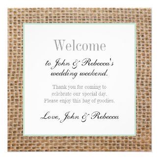 Burlap & Mint Green Wedding Welcome Card