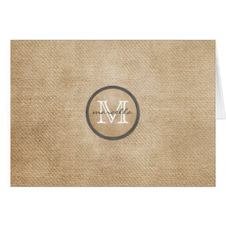 Burlap Monogram Card