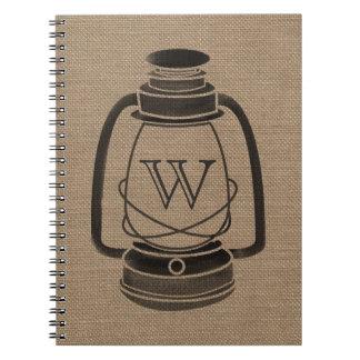 Burlap Monogram Oil Lantern Spiral Notebook