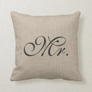 Burlap Mr. Pillow