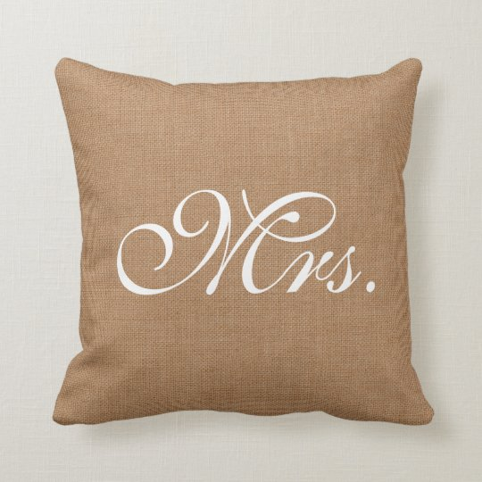 Burlap Mrs. Throw Cushion