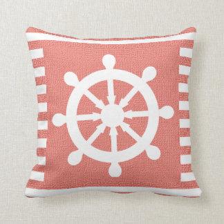 Burlap Nautical Helm on Coral Stripes | Print Throw Pillow