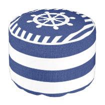 Burlap Nautical Helm on Dark Blue Stripes | Print Pouf