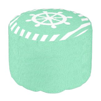 Burlap Nautical Helm on Mint Green Stripes | Print Round Pouf