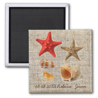 burlap  nautical seashells beach save the date magnet