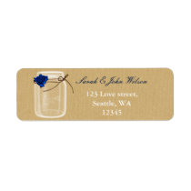 burlap navy blue rose mason jar address label