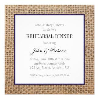 Burlap & Navy Blue Wedding Rehearsal Dinner Invite