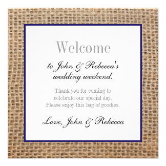 Burlap & Navy Blue Wedding Welcome Card