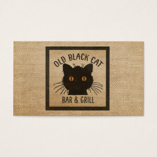 Burlap Old Black CAt Bar and Grill Business Card