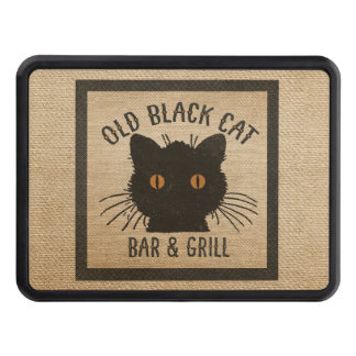 Burlap Old Black CAt Bar and Grill Hitch Cover