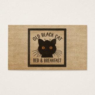 Burlap Old Black Cat Bed Breakfast Business Card