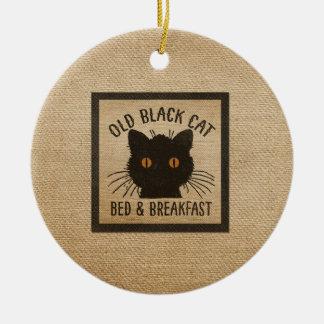 Burlap Old Black Cat Bed Breakfast Ceramic Ornament