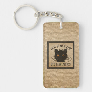 Burlap Old Black Cat Bed Breakfast Keychain