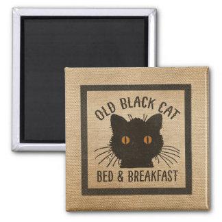 Burlap Old Black Cat Bed Breakfast Magnet