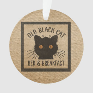 Burlap Old Black Cat Bed Breakfast Ornament