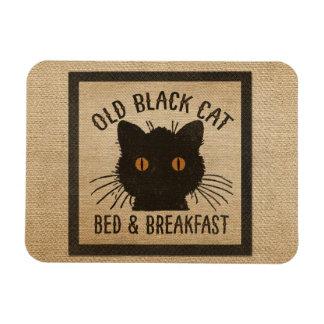 Burlap Old Black Cat Bed Breakfast Rectangle Magnet