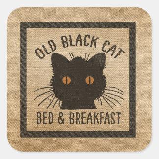 Burlap Old Black Cat Bed Breakfast Square Sticker