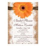 Burlap Orange Daisy Bridal Shower Invitations Invites