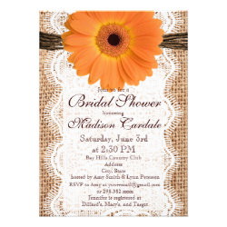 Burlap Orange Daisy Bridal Shower Invitations