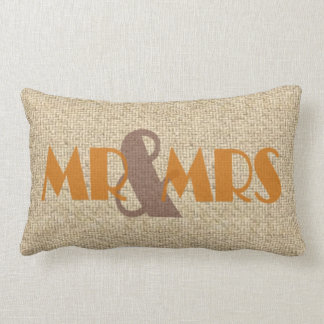 Burlap orange mr mrs wedding decorative pillow