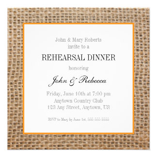 Burlap & Orange Wedding Rehearsal Dinner Card