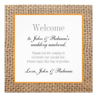 Burlap & Orange Wedding Welcome Card