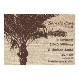 Burlap Palm Tree Brown Save the Date Announcement