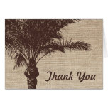 Burlap Palm Tree Brown Stationery Note Card