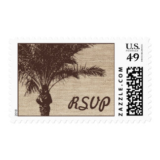 Burlap Palm Tree Brown Wedding RSVP Postage