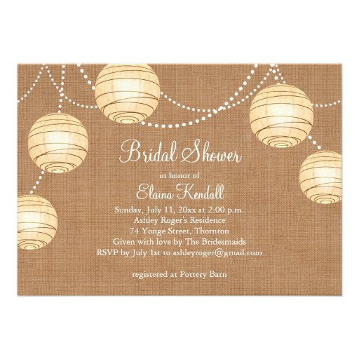Burlap Party Lanterns Bridal Shower Invitation