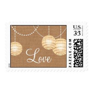 Burlap Party Lanterns Love Stamp