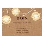 Burlap Party Lanterns RSVP 3.5x5 Paper Invitation Card