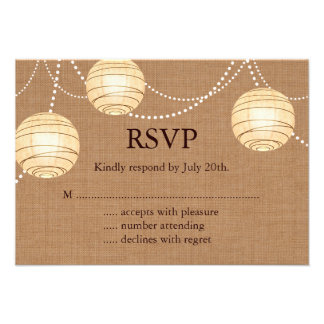 Burlap Party Lanterns RSVP Invitations
