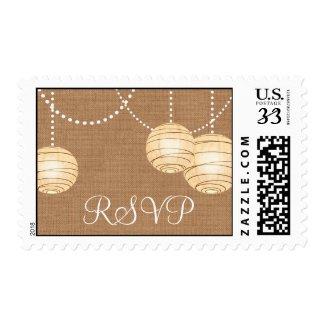 Burlap Party Lanterns RSVP Stamp