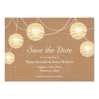 Burlap Party Lanterns Save the Date Invitation